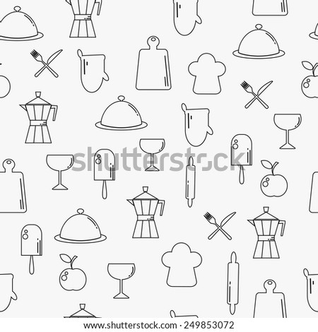 Food and drink outline modern seamless pattern - stock vector