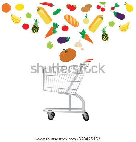 Food and drink products falling in shopping cart, concept for retail. Shopping big sales