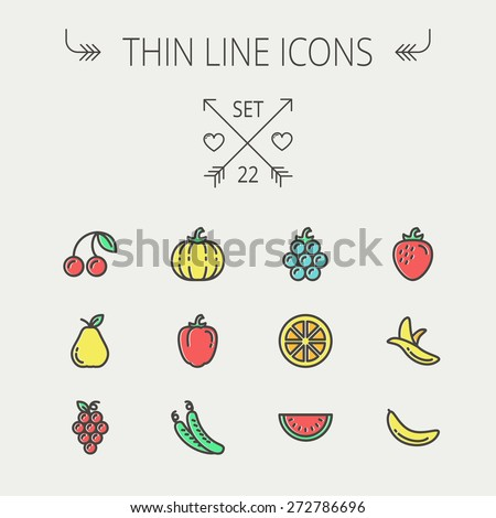 Food and drink thin line icon set for web and mobile. Set includes-banana, watermelon, cherry, squash, grapes, lanzones, peas, pear icons. Modern minimalistic flat design. Vector icon with dark grey - stock vector