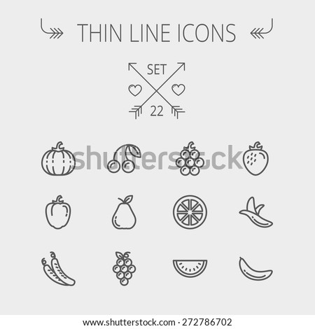 Food and drink thin line icon set for web and mobile. Set includes- banana, watermelon, cherry, squash, grapes, lanzones, peas, pear icons. Modern minimalistic flat design. Vector dark grey icon on - stock vector