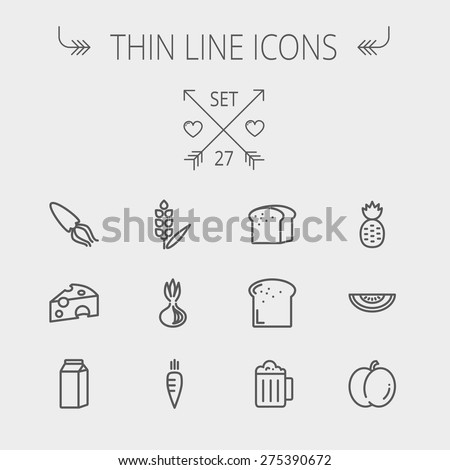 Food and drink thin line icon set for web and mobile. Set includes- fresh milk, bread, cheese, squid icons. Modern minimalistic flat design. Vector dark grey icon on light grey background. - stock vector