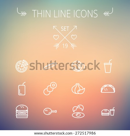 Food and drink thin line icon set for web and mobile. Set includes-onion, egg, chicken, meal set, soda, burger, taco icons. Modern minimalistic flat design. Vector white icon on gradient mesh - stock vector