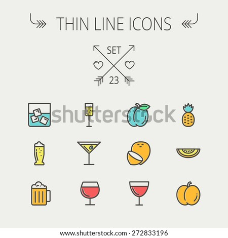 Food and drink thin line icon set for web and mobile. Set includess-pineapple, orange, ine, tequilla, beer, melon icons. Modern minimalistic flat design. Vector icon with dark grey outline and offset - stock vector