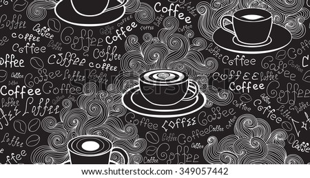 "Food and drink vector seamless pattern with various coffee cups and words ""Coffee"" handwritten by chalk on grey board. Endless food vector texture - stock vector"