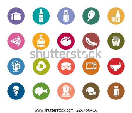 Food and Drinks Color Icons - stock vector