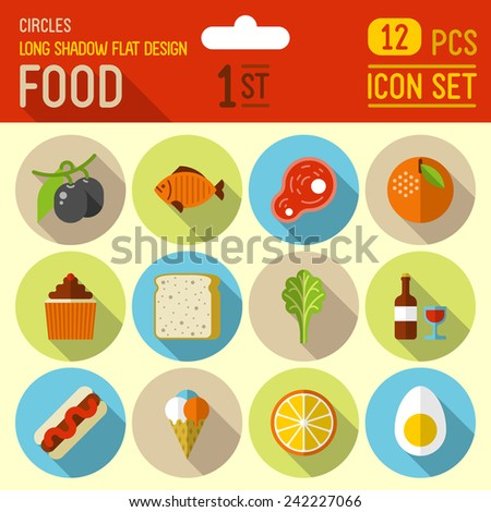 Food and drinks flat long shadow design circle icon 2nd set. 12 pcs. Trendy vector illustrations. - stock vector