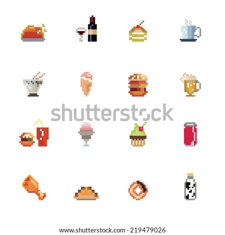 Food and Drinks Pixel Icons - stock vector