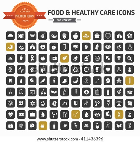 Food and healthy care icon set,vector - stock vector