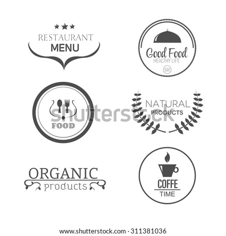 Food and products emblems vector set, coffe, restaurant menu