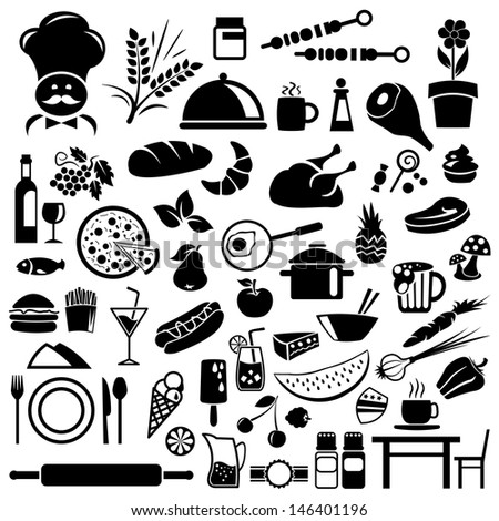 Food and Restaurant icons  - stock vector