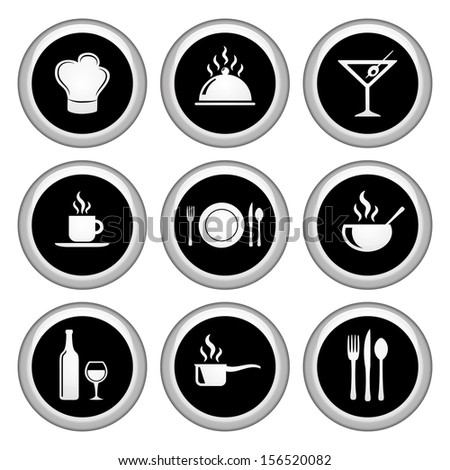 Food and Restaurant Icons Silver Icon Set - stock vector