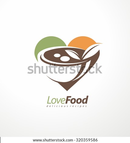 Food and restaurant logo design idea. Heart shape with food dish in negative space. Kitchen and cooking creative symbol template. Organic food products vector icon template on light background. - stock vector
