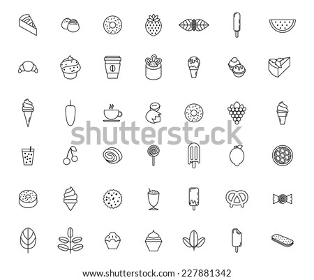 food and sweetness icons set - stock vector