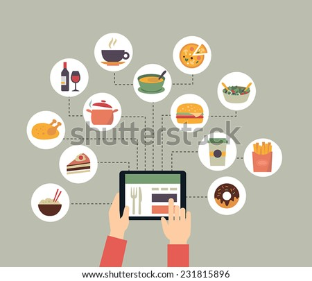 Food background - food blogging, reading about food, searching for recipes or ordering food online. Flat design style. - stock vector
