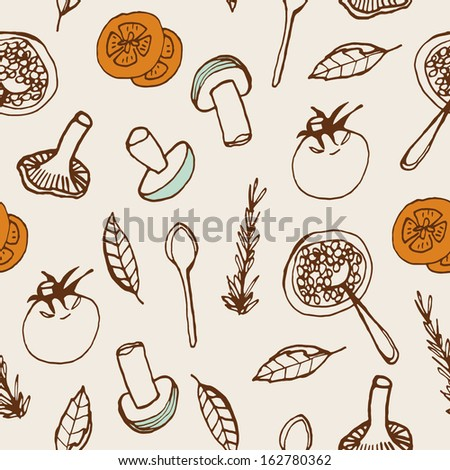 Food background. Hand drawn seamless pattern