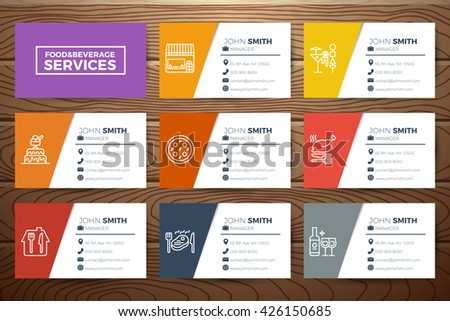 Foodbeverage restaurant business card template design stock vector foodbeverage restaurant business card template design with line icons on realistic wooden background cheaphphosting Gallery