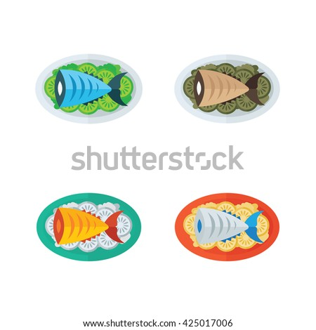food, blue fish and salad - stock vector