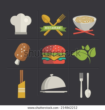 Food cartoon icons,clean vector - stock vector