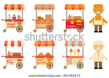 Food Carts with Sellers Set Isolated on White Background. Street-Food Market Store Car. Vector Illustration.  - stock vector