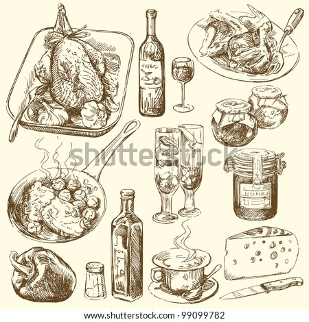 food collection - stock vector