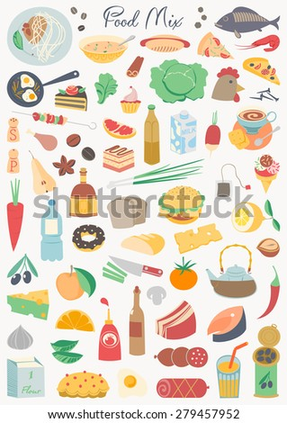 Food collection - food mix - stock vector