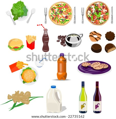 Food collection set - stock vector