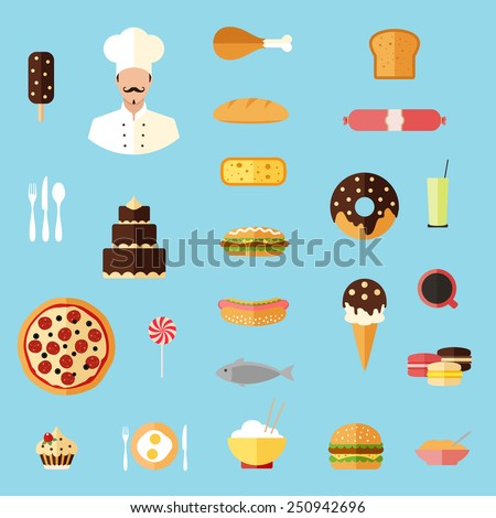 food colorful flat design icons set. template elements for web and mobile applications - stock vector