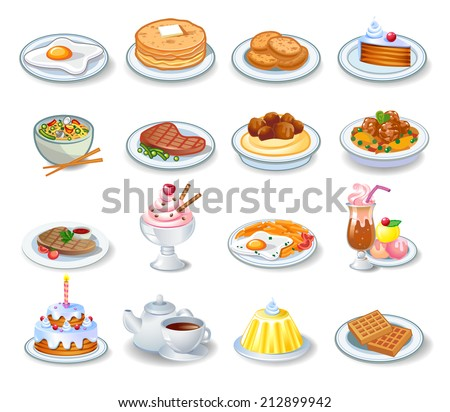 Food computer icons, good in a small size - stock vector