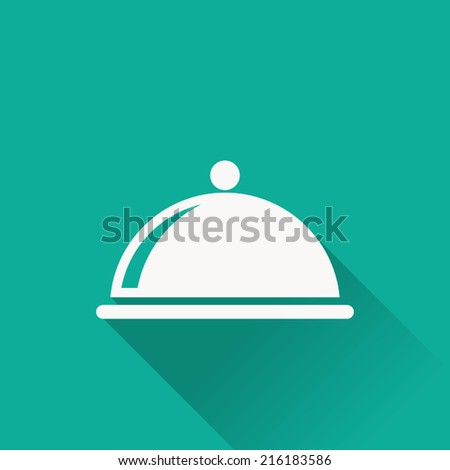 food cover icon , vector illustration , flat design - stock vector