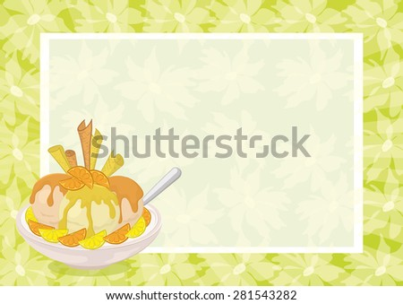 Food, Cup with Ice Cream, Slices of Citrus Fruit, Waffles and Spoon on the Background to a Poster with Abstract Floral Pattern. Eps10, Contains Transparencies. Vector - stock vector
