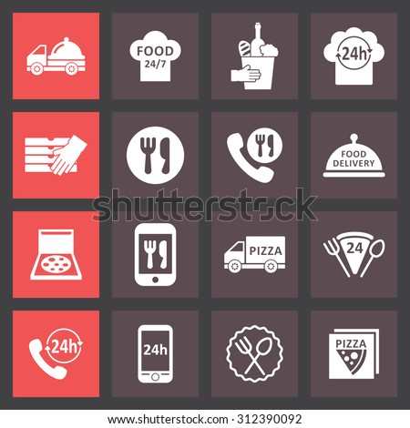 Food delivery icons - stock vector