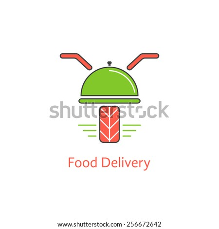 food delivery with motor scooter and dish. concept of online cafe, payment discounts, courier, dining, meal serving. isolated on white background. flat style modern branding design vector illustration - stock vector