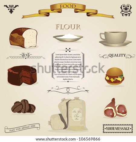 Food design elements- vintage - stock vector
