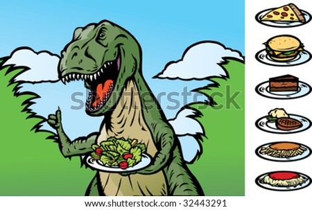 Food dinosaur becoming a vegan, or showing food.  With Vector, food is on a separate layer as well as the plate and can be removed. - stock vector