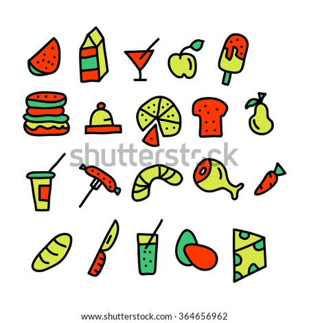 food doodle collection.vector illustration. - stock vector
