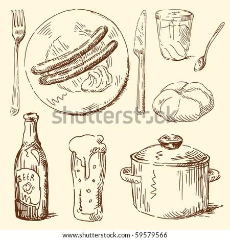 food doodles - stock vector