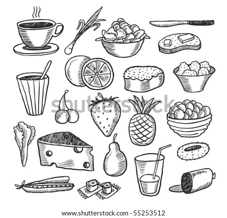 Food doodles collection. Vector illustration.