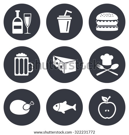 Food, drink icons. Beer, fish and burger signs. Chicken, cheese and apple symbols. Gray flat circle buttons. Vector - stock vector