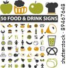 food & drink icons set, vector illustrations - stock vector