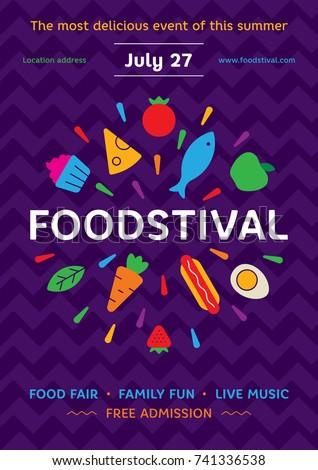 Food Festival Poster Design Template Vector Stock 741336538