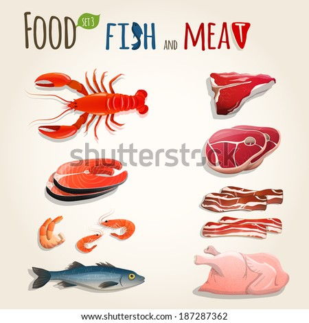 Food fish and meat decorative elements collection of chicken shrimp bacon vector illustration - stock vector