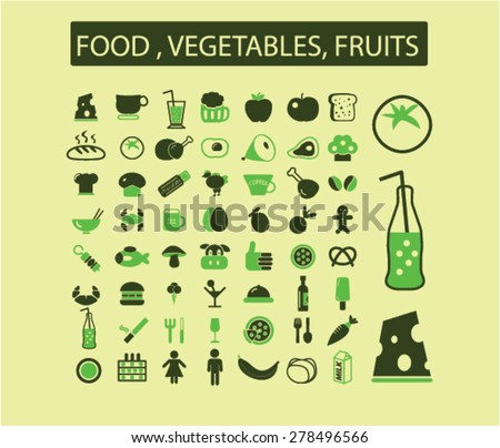 food, fruits, vegetables, drink, grocery icons, signs, illustrations set, vector - stock vector