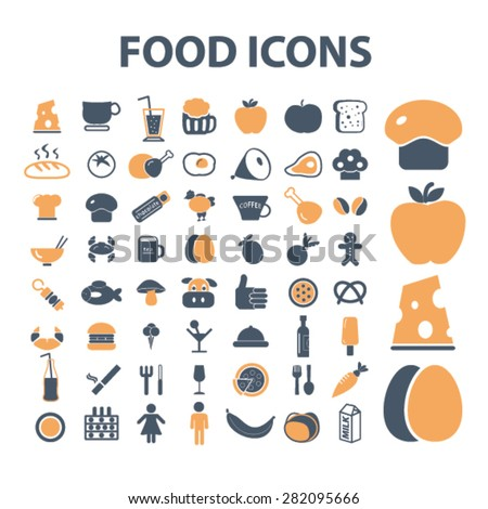 food, grocery icons, signs, illustrations set, vector - stock vector