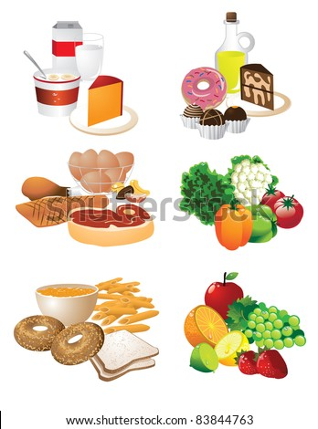 Food groups A collection of foods grouped by type. - stock vector