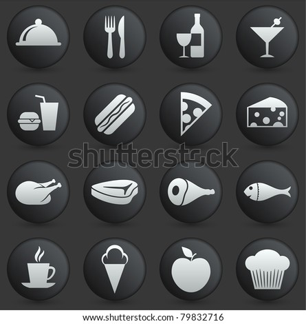 Food Icon on Round Black and White Button Collection Original Illustration - stock vector