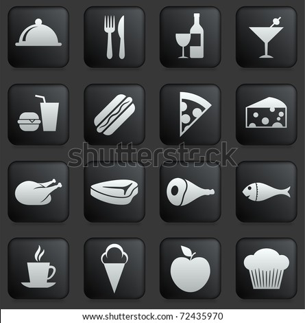 Food Icon on Square Black and White Button Collection Original Illustration - stock vector
