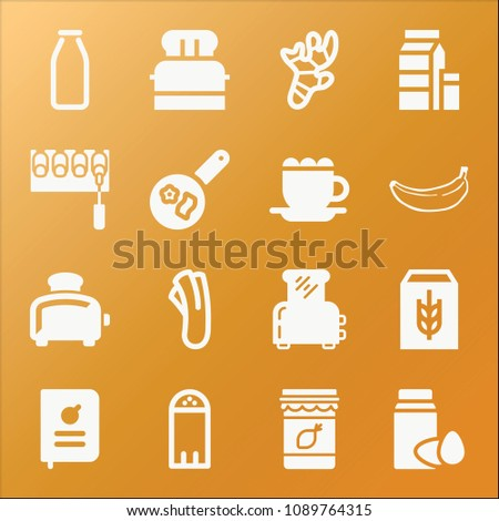food icon set filled collection of 16 vector icons such as ingredients celery