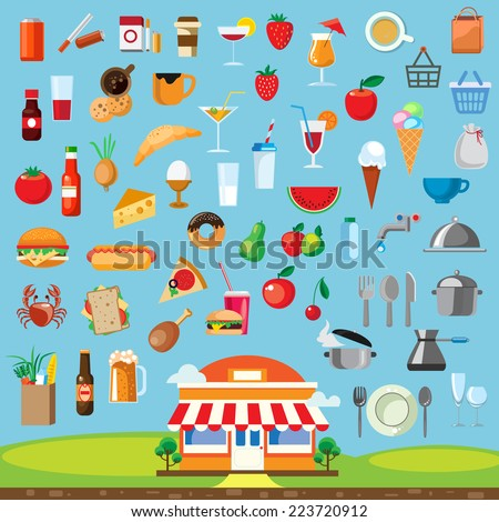 Food, icon set flat design - stock vector