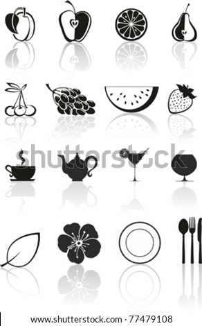 Food icon set isolated on White background. Vector illustration