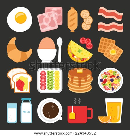 Food icons, breakfast - stock vector